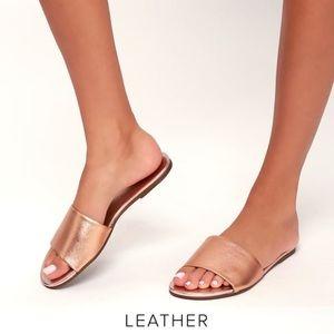 Lulus NIB Leather Tara Rose Gold Napa Slides